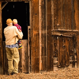 Where is that Horse? by Mark Franks - People Family ( barn, grandpa, family, weathered wood, old barn, grandson, Northern California, Golden Gate Bridge, Bay Area, Coit Tower, bay bridge, Wine Country, Napa, Sacramento, beach )