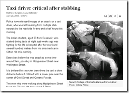 Knife Attack on Cab Driver