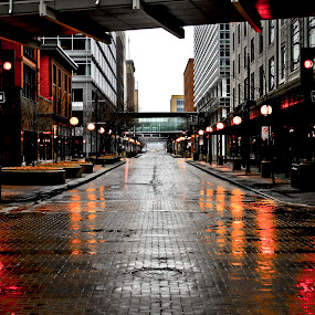 Reflections by Greg Harrison - City,  Street & Park  Street Scenes ( iowa, lighting, reflections, perspective, streets, rain, des moines )