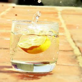 lemon  by Shamsad Mhd - Abstract Water Drops & Splashes ( water, macro, perfection, moving, splash, speed, glass, shutterspeed, yellow, motion, lemon )