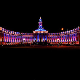 Denver City Hall ~ Bronco Style by Elizabeth Gray - Buildings & Architecture Public & Historical ( #art, #denvercityhall, #broncos, #color, #architecture, #city, #denver, #photography, #hall, #building, #decorated, #lights )