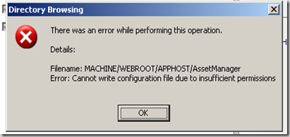 Delegating IIS 7 admin error