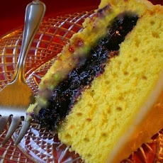 Lemon Pecan Spice Cake filled with Blueberries and Mango