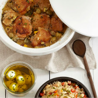 Poulet's Preserved Lemon Chicken with Olives with Almond Couscous