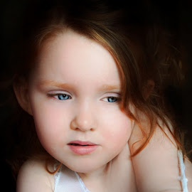 Sad Beauty by Cheryl Korotky - Babies & Children Child Portraits ( red hair, a heartbeat in time photography, sad expressions, amazing faces, blue eyes, beautiful children, child model nevaeh, portrait )