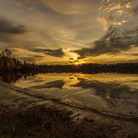 Sunset Boulevard by Linda Farwell Ryma - Landscapes Sunsets & Sunrises ( boulevard lake, sunset, lake, thunder bay, landscape )