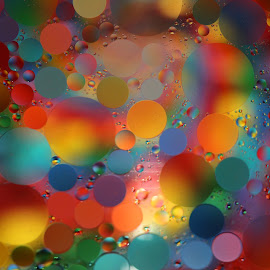 Psychodelic Rainbow by Janet Herman - Abstract Macro ( water, abstract, macro, psychedelic colors, moons, floating, round, spheres, oil, , colorful, mood factory, vibrant, happiness, January, moods, emotions, inspiration )