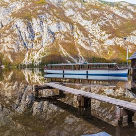 Lake Bohinj Boathouse by Stephen Bridger - Transportation Boats ( reflection, europe, slovenia, boathouse, lake, travel, boat, lake bohinj, travel photography )