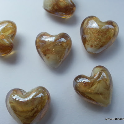 Lampwork Heart Beads In Caramel and White With glitter Sand  x8