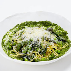 Spaghetti With Spring Vegetables, Ramp Pesto And Pecorino Recipe