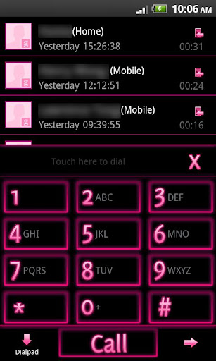 GO Contacts EX Theme Pink Neon