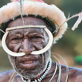 The Chief of Dani Tribe, Papua by German Kartasasmita - People Portraits of Men