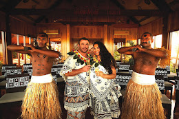 Couple in traditional Fijian wedding costume in resort chapel