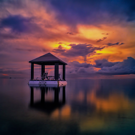 .:: a l o n e ::. by Setyawan B. Prasodjo - Landscapes Sunsets & Sunrises ( reflection, dawn, hideaway, leissure, travel, sunrise, gazebo )