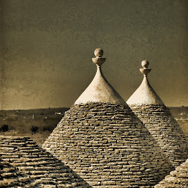 TRULY TRULLI by Irene Martinelli - Buildings & Architecture Architectural Detail ( trullo, home, sepia, apulia, puglia, conical, italy )