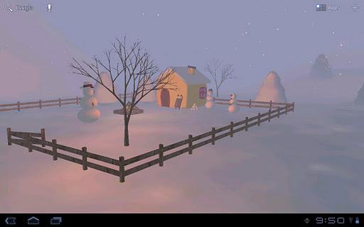 Snowman's Lodge 3D Wallpaper