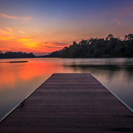 The Dusk by GokulaGiridaran Mahalingam - Landscapes Sunsets & Sunrises ( water, reservoir, sunset, trees, forest, seascape, landscape, float, dusk, singapore, boardwalk )