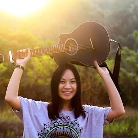 by Hari Hardana - People Musicians & Entertainers ( model, portraits of women, sunset, guitarist, guitar )