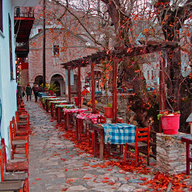 Makrinitsa by Stratos Lales - City,  Street & Park  Markets & Shops ( red, tree, leave, traditional, tavern )