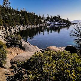 Lake Tahoe by Esther Lane - Landscapes Travel ( water, tahoe, cove, trees, lake, rocks,  )