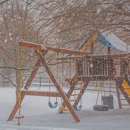 Playground in a snow by Izzy Kapetanovic - City,  Street & Park  Amusement Parks ( playground, tricycle, winter, snow, trees, weather )