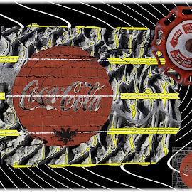 Random Stuff by Joerg Schlagheck - Digital Art Abstract ( cool, coca cola, eagle, stuff, snow, tires, random, lines, tracks, valve., albania, blach )