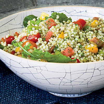 Israeli Couscous and Tomato Salad with Arugula Pesto