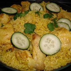 Thai Chicken With Crispy Shallots in Yellow Rice (Kao Moke Gai)