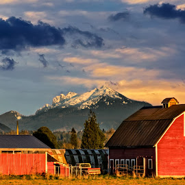 Barn Shelter by Chris Kontoravdis - Buildings & Architecture Other Exteriors ( clouds, mountain, barn, nature, color, fall, landscape, spring )
