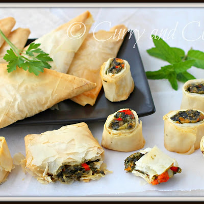Spanakopita Triangles and Spirals in Phyllo Dough
