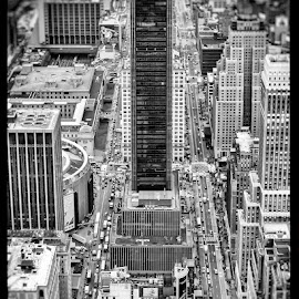 The Black Monolith by JC T - City,  Street & Park  Street Scenes ( streets cape, black and white, buildings, isa, streets, cityscape, new york, new york city, city )