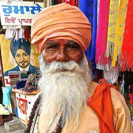 PORTRAIT of SIKH MAN #13 by Doug Hilson - People Portraits of Men ( colorful, street, india, sikh man, portrait )