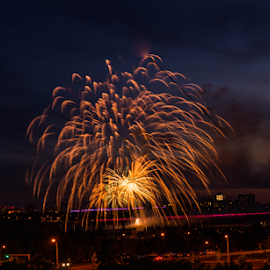 World Celebration  by Joseph Law - News & Events World Events ( street light, world evet, firework, celebration, beautiful lighting, in edmonton )