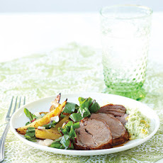 Roasted Lamb Tenderloin with Fava Bean Purée