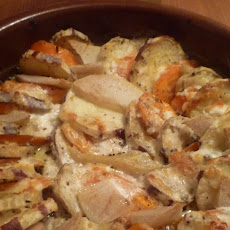 Sweet Potato, Goat Cheese Gratin