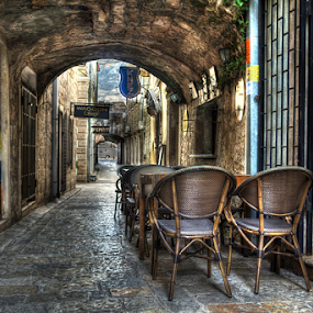passage by Branislav Rupar - City,  Street & Park  Street Scenes ( tables, montenegro, showroom, chairs, passage, cane, tunnel house, advertising, cafe, city, antiques )