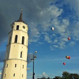 by Monika Norvaisaite - Novices Only Street & Candid ( clouds, tower, blue sky, sky, blue, autumn, event, street, balloons, people, airshow )