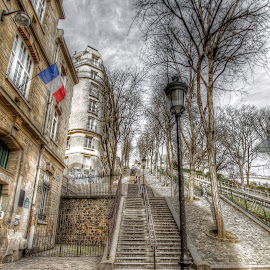 montmartre stairs 2 by Ben Hodges - City,  Street & Park  Neighborhoods ( paris, stairs, hdr, montmartre, wide angle, lamp, france )