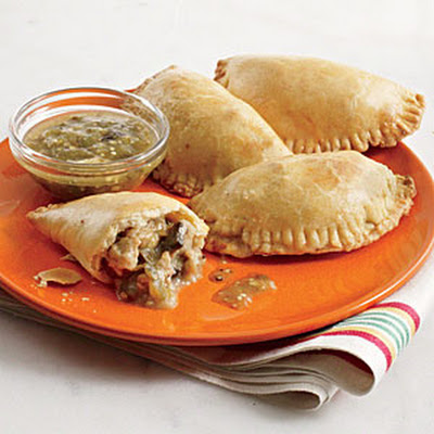 Chicken and Mushroom Empanadas with Roasted Tomatillo Sauce