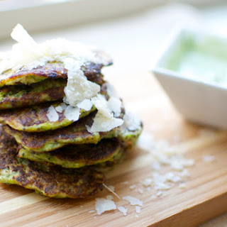 Zucchini Flapjacks And Basil Cream