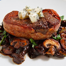 Grilled Filets Mignons with Caramelized Onion and Mushroom Sauce