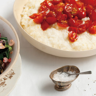 Creamy Rice Grits with Tomato Relish
