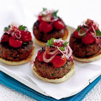 Chilli Burger With Roasted Tomatoes & Red Onion Relish