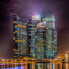 Banks by Alex Shanti - Buildings & Architecture Office Buildings & Hotels ( urban lights, offices, long exposure, night, singapore, , Urban, City, Lifestyle )