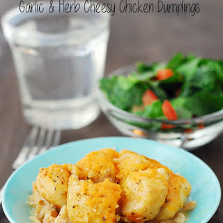 Slow Cooker Garlic & Herb Cheesy Chicken Dumplings