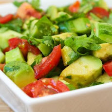 Vegan Tomato Salad with Cucumber, Avocado, Cilantro, and Lime