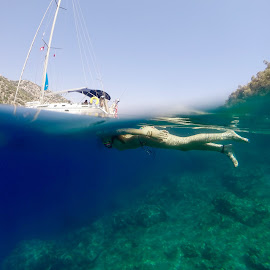 half human by Marc-Antoine Kikano - Transportation Boats ( vacation, girl, underwater, sea, seascape, sailboat )