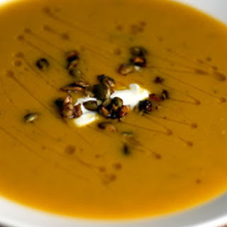 Squash and Fennel Soup with Candied Pumpkin Seeds
