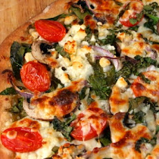Spinach, Mushroom and Feta Pizza