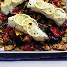 Halibut, Ratatouille And New Potato Tray Bake